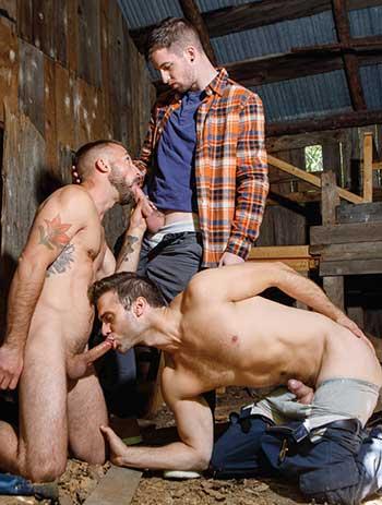 Really hot gay threesome