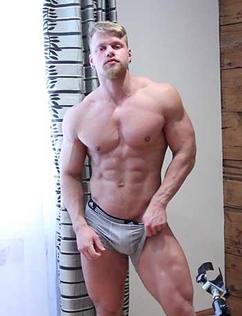 Brad stroking his big cock